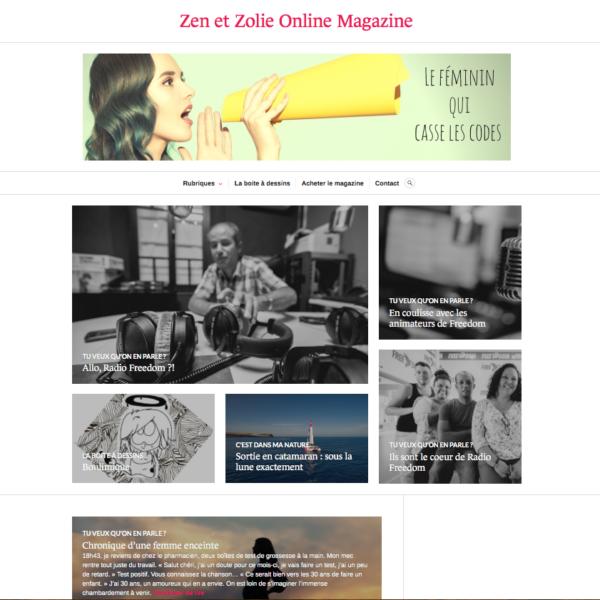 Site internet du magazine Zen et Zolie, Online Magazine